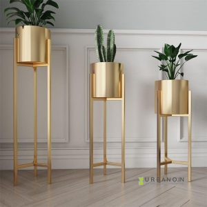 Urban Gold metal planter with Stand